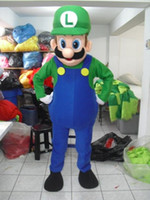 Wholesale Mario Luigi Mascot Costumes - Super Mario Luigi Mascot Costume Fancy Party dress