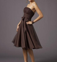 Wholesale Strapless Brown Bridesmaid Dress - Free shipping Brown Chiffon Strapless Dress A-line Knee length Bow Cheap Bridesmaid Dresses