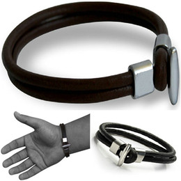 Wholesale Surfer Belt - Men's GENUINE Leather Bracelet Hand Wristband Surfer Cuff Belt Fashion Jewelry