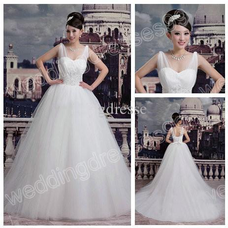 Gorgeous Bride With V-neck Net Ball Gown Wedding Dresses Beads Corset Back Aline Bridal Dress Trends