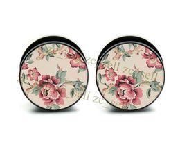 $enCountryForm.capitalKeyWord NZ - Chinese flower painting double flat flare ear plug screw flesh tunnel body jewelry 6-25mm 10 sizes 60pcs bag free shipping ASP0241