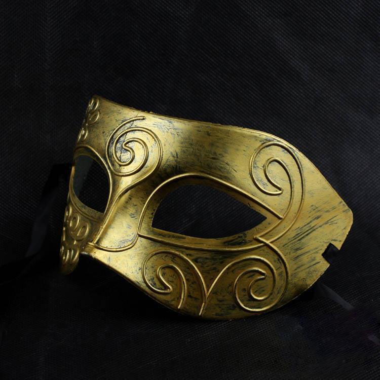 Retro römische Gladiator Halloween-Parteischablonen Mann Frau Kinder Karneval-Maskerade-Maske zwei Farben Silber, Gold