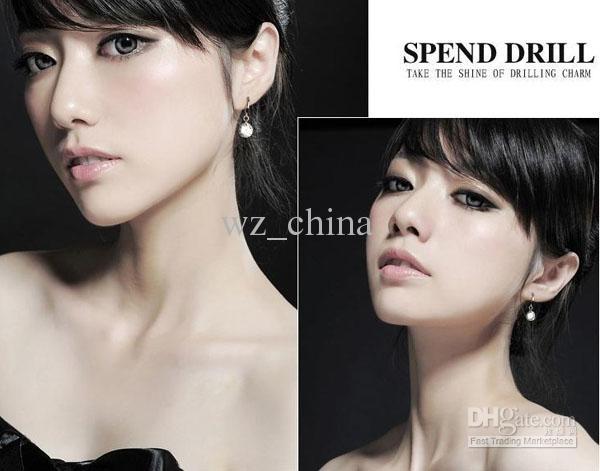 ビッグクリスタルドロップイヤシャルズ裸ドリルイヤリング925銀メッキオーストリアクリスタルスタッド高品質ファッション韓国のボヘミアのジュエリー女性