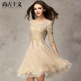 Wholesale Lace Mid Calf Wedding Dress - Summer Autumn Fashion Lady Women Lace Casual Dress Elegant Chiffon Big Pendulum Sexy White Black Pink Khaki Designer Wedding Clothings