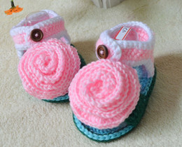 Wholesale China Kids Wear Wholesalers - 6%off!2015new! Pink wool flowers sandals. Flops sandals. 100% veil. Crochet shoes. china cheap baby wear kid shoes 5pair 10pcs