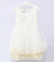 Wholesale White Rose Tutu Dress Wholesale - Wholesale 2017 new summer autumn childrens babys girls lace rose tutu dress princess fashion dress JO-618 white