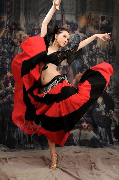 top popular Flamenco Skirt Belly Dance 360 Degree Circle Big Skirt Costume Tribal FreeShipping 2019