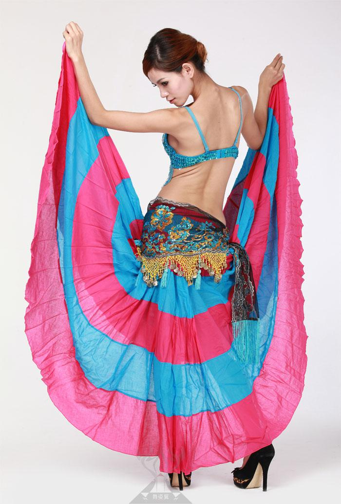 Flamenko Etek Belly Dance 360 Derece Daire Büyük Etek Kostüm Tribal