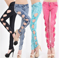 Wholesale Cutout Ripped Denim - Five Colors Classical Vintage Detailed Woman Side Bow Cutout Ripped Denim Sexy