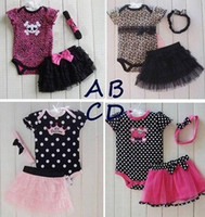 Wholesale Babys Blue Clothes - Wholesale 2017 new summer autumn winter childrens babys girls suit 3 sets T-shirts+skirts+hair band romer Outfits & Sets clothes TT-120