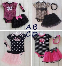 Wholesale Childrens Animal T Shirts - Wholesale 2017 new summer autumn winter childrens babys girls suit 3 sets T-shirts+skirts+hair band romer Outfits & Sets clothes TT-120