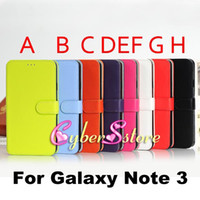 Wholesale Luxury Candy Color Wallet PU Flip leather Case Cover With Credit Card Slots For Samsung Galaxy Note N9000
