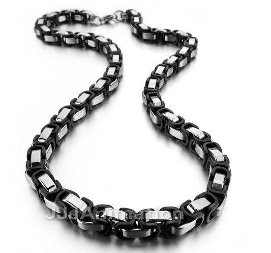 Pulsera de collar de cadena bizantina de plata negra de 7,5 mm Conjunto de joyas de acero inoxidable 316L para joyas de Navidad para hombres, 22 'y 9' '