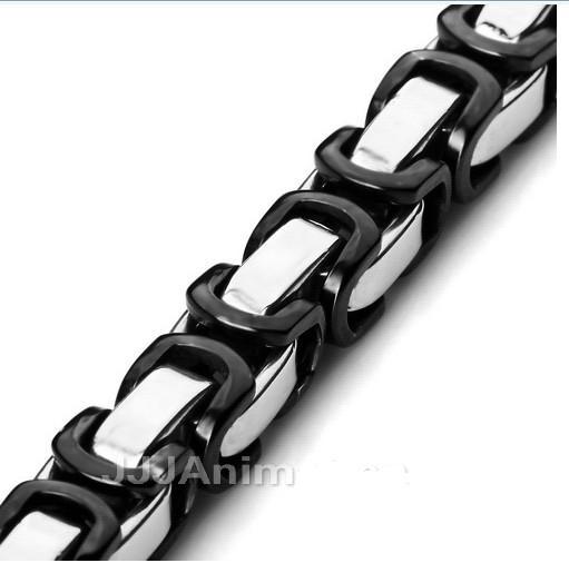 Svart Silver 7.5mm Byzantinskedjan Halsband Armband 316L Stainless Steel Smycken Set för Mäns Xmas Smycken, 22 'och 9' '