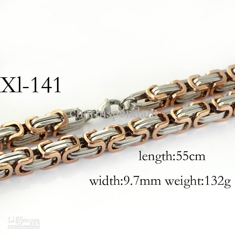 Conjunto de joyas de acero inoxidable 316L con collar de cadena bizantina de 9,6 mm de oro rosa plateado para joyas de Navidad para hombres, 22 'y 9' '