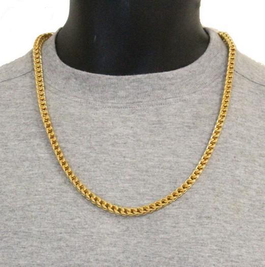 Collar de cadena de eslabones chapado en oro de 18 k 6 mm. Conjunto de joyas de acero inoxidable 316L para joyería de NAVIDAD para hombres, 22 'y 9' '.
