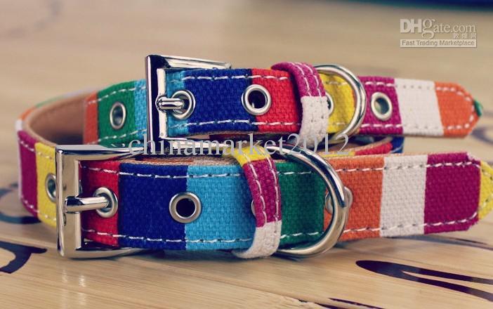 Cuello de perro del perro del animal doméstico de la lona libre del envío collar colorido /