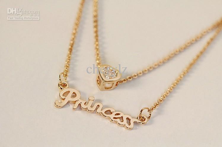 Wholesale lady letter princess necklaces crystal love pendant gold wholesale lady letter princess necklaces crystal love pendant gold plated charm necklace christmas gift good quality mg009 white gold necklace diamond aloadofball Image collections