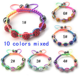Wholesale Clay Beads Wholesale - New hot kids' mix color clay shamballa beads and colorful nylon cord handmade bracelets DIY jewelry 12pcs lot drop shipping