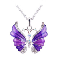 Wholesale Long Red Butterfly Necklace - Women Colorful Butterfly Necklaces Pendant Silver Plated Rhinestone Charm Long Necklace Christmas Gift Good Quality SD050
