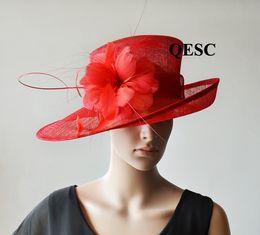 NOVA aba larga vermelha Sinamay fascinator Chapéu chapéu de kentucky derby  Chapéu de vestido formal para igreja b84eae9bcc7