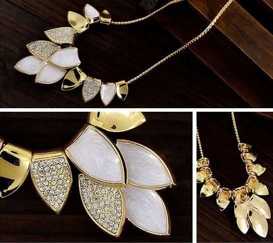 Högkvalitativ Shinning 18K Guldpläterad Leaf Choker Crystal Neckalce Falsk Collar Halsband