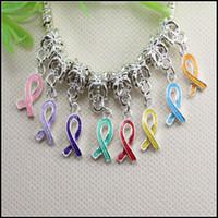Wholesale Enamel Awareness Ribbons - 100PCS Silver Plated Enamel Ribbon Breast Cancer Awareness Big Hole Dangle Beads fit European Bracelet jewelry findings