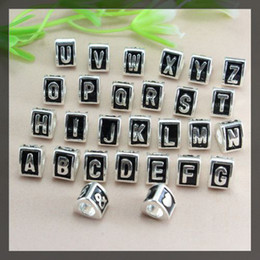 Wholesale Alphabet Spacer Beads - 100PCS Silver tone Alloy Alphabet Letter Big Hole Euro Charm Loose Spacer Beads Fit European Bracelet jewelry findings