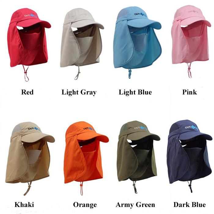 fd274e4cf44 Camping Hiking Fishing Outdoor Big Wide Brim Face Neck Cover Flap Sun Hat  Cap  2568