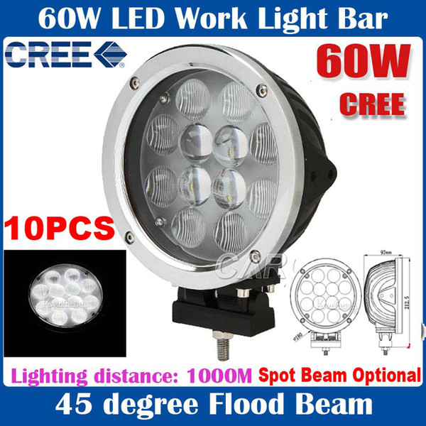 "10pcs 7"" 60W CREE 12LED*5w Driving Work Light Offroad SUV ATV 4WD Spot / Flood Beam 510llm 9-60V Silver / Black Housing Massive Replace HID"