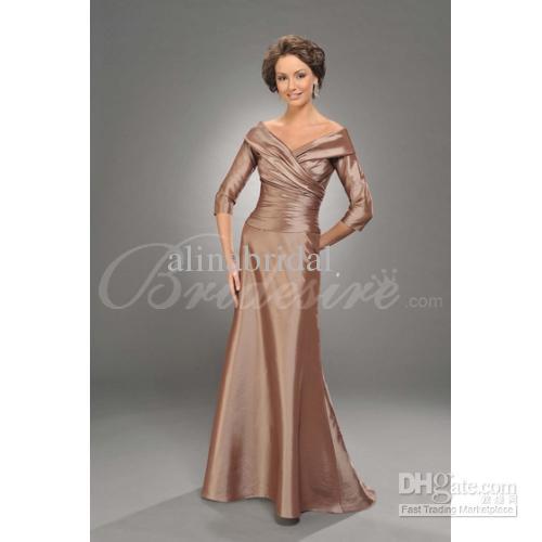 Halv långärmad champange mor till bruden klänningar sexig av axel taffeta golv längd mors klänning kvinnor festklänningar