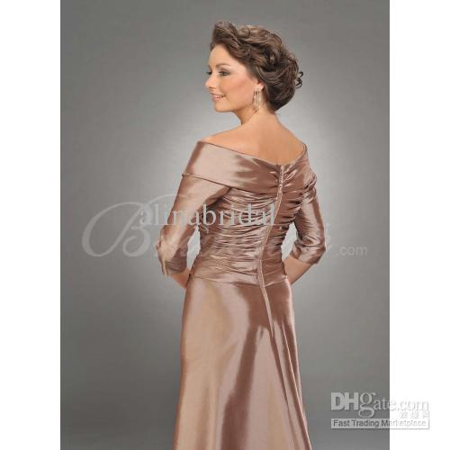 ミーズンドレスの半分長袖シャンペング母親の肩タフタの床の長さの母親のドレス女性パーティーガウン
