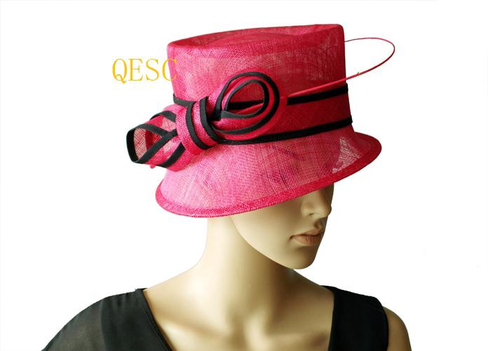 Elegante kleine rand Sinamay Church Hat met struisvogel wervelkolom voor bruiloft, Kentucky Derby, races, feest, ascot