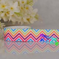 "Wholesale Chevron Stripe Ribbon - 10yards 1"" 25mm colorful stripe chevron printed gift ribbon chevron wave DIY gift ribbon"