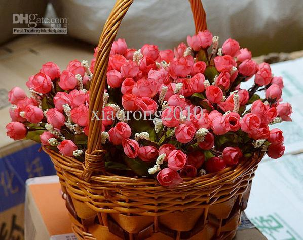"100Pcs 22cm/8.66"" Length Artificial Silk Flowers Simulation Small Tea Bud Mini Rose Thumb Roses Five Stems Per Bush Home Decoration"