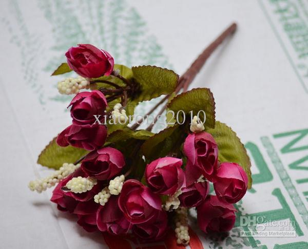 "22cm/8.66"" Length Artificial Silk Flowers Simulation Small Tea Bud Mini Rose Thumb Roses Five Stems Bush Home Decoration"