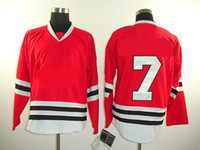 Wholesale Cb Red - American Hockey Jerseys CB 7 Red Ice Winter Jersey Adult Kids Mix Order11 holypote