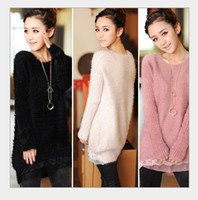 Wholesale Ladies Pink Wool Coats - HOT 2016 new Women Lace mohair sweater lady long casual coat overcoat 4 colour free shipping,