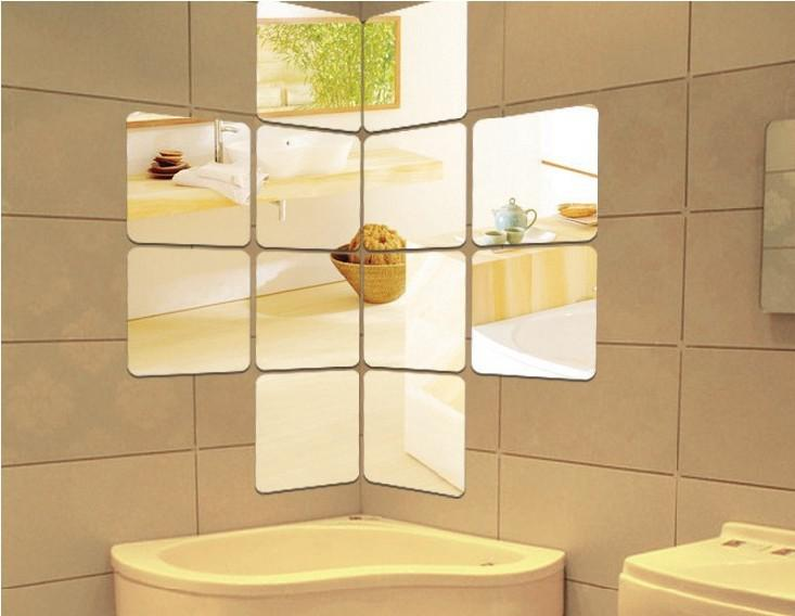 Square Wall Mirror Sticker , 3D Home Mirror Sticker ...