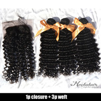 "Wholesale Double Lace Top - Deep Wave,1 Piece Lace Top Closure and 3Pcs Hair 100% Brazilian Virgin Hair Double Weft,4pcs lot 12""-28"" Free shipping by DHL"