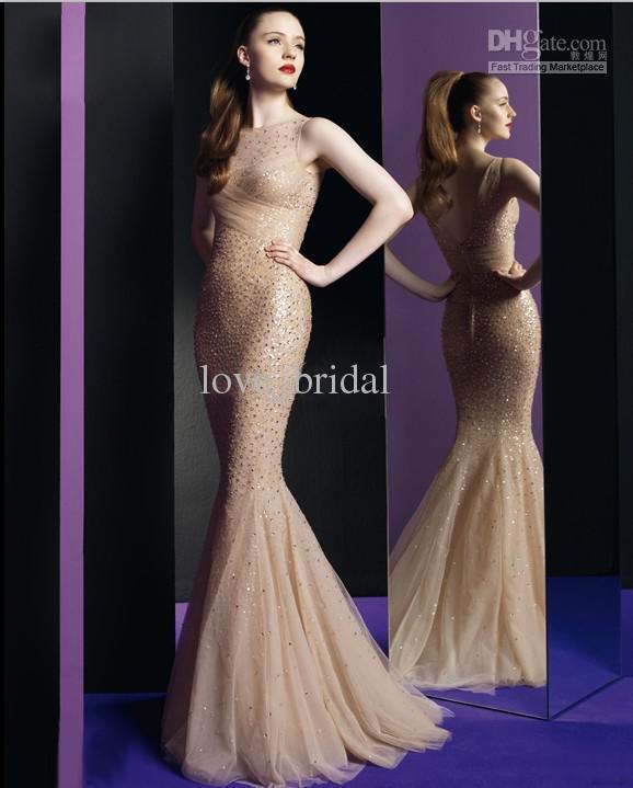 2014 Charming Prom Dresses Swarovski Crystal A Line V Neck Yellow ...