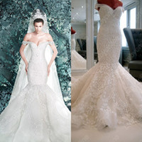 Wholesale Buy Sash - Hot Sexy Cathedral Bridal Gown Off-the-Shoulder A-line Trumpet Beads Applique Royal Wedding Dresses W7900 (Buy 1 Get Free Tiara)