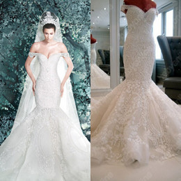 Wholesale Buy Red White Dress - Hot Sexy Cathedral Bridal Gown Off-the-Shoulder A-line Trumpet Beads Applique Royal Wedding Dresses W7900 (Buy 1 Get Free Tiara)