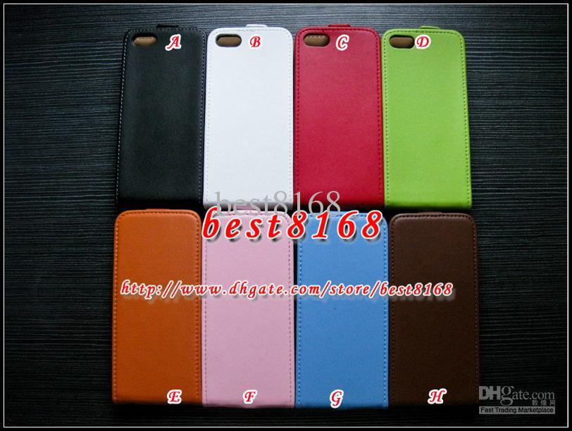 Caso de la bolsa vertical genuina de cuero genuino flip para iphone 8/7 / Plus / SE 5 5S 5 5C iphone5c 6 6 S Plus 5.5 4 4S casos de la cubierta de piel bolsas de colores