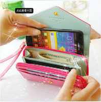 Wholesale Crown Pouch Flip - Envelope wallet PU Leather Flip Crown Smart Pouch Cover case mobile phone bag for iphone 5S se 6s plus for samsung s6 s7 note 4 5 big size
