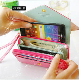 Wholesale Envelope Smart Pouch - Envelope wallet PU Leather Flip Crown Smart Pouch Cover case mobile phone bag for iphone 5S se 6s plus for samsung s6 s7 note 4 5 big size