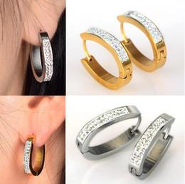Wholesale Golden Hoop Stud - 2Pairs lot Golden Silver Crystal Round Stainless Steel Hoop Earring For Women High Quality Stud Earrings Unisex [JE01011*2]