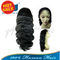 """Wholesale 12 16 Indian Wave - Wholesale Price 1# Jet Black Body Wave 12-16"""" Indian Remy Human Hair Affordable Full Lace Wigs In stock Free Shipping"""