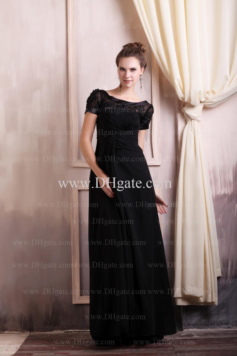 High Quality 2013 Sexy Black Short Sleeves Applique Beads Floor Length Mother of the Bride DressesClear Crystals Bridal Bracelets for free