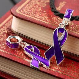Wholesale Enamel Awareness Ribbons - Finding - 100pcs Purple Enamel Ribbon Pendant Charms Beads AWARENESS Fit European Bracelet
